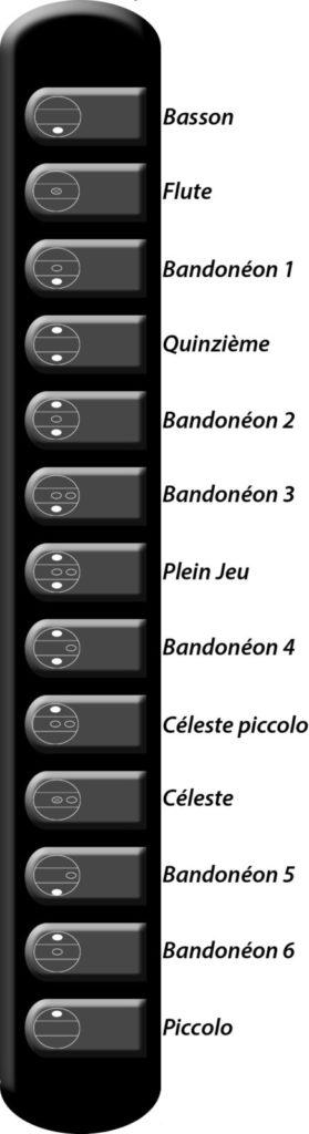 Registre de l'accordéon cavagnolo Vedette 10 SK